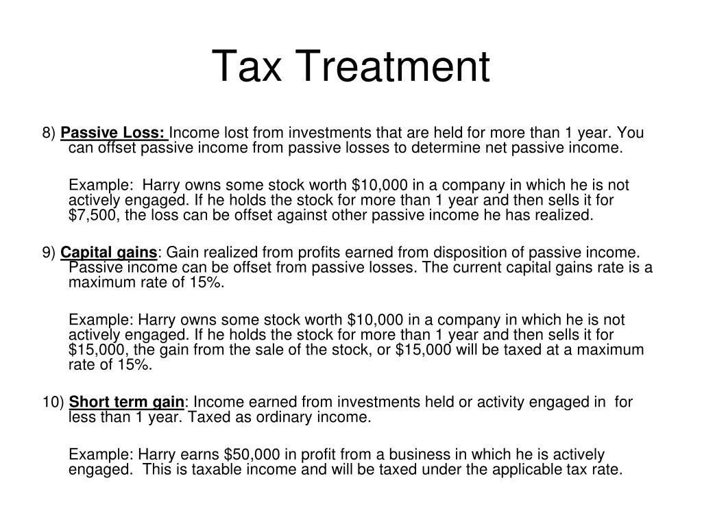 Tax Treatment