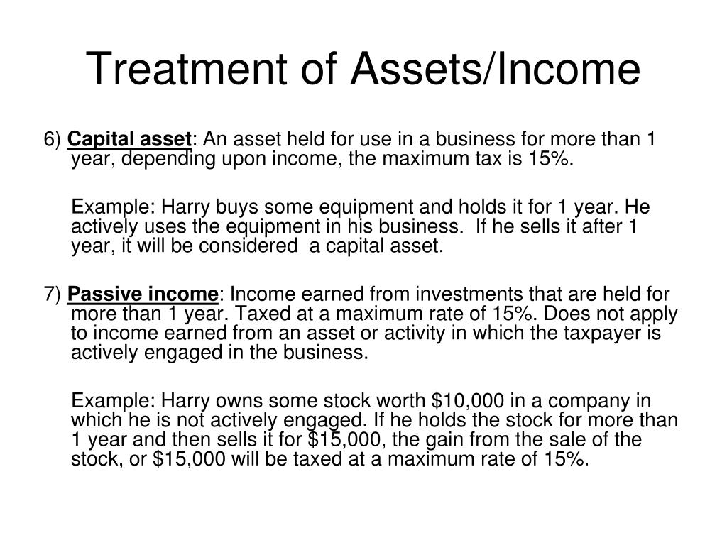 Treatment of Assets/Income