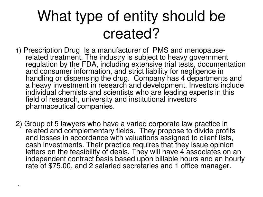 What type of entity should be created?