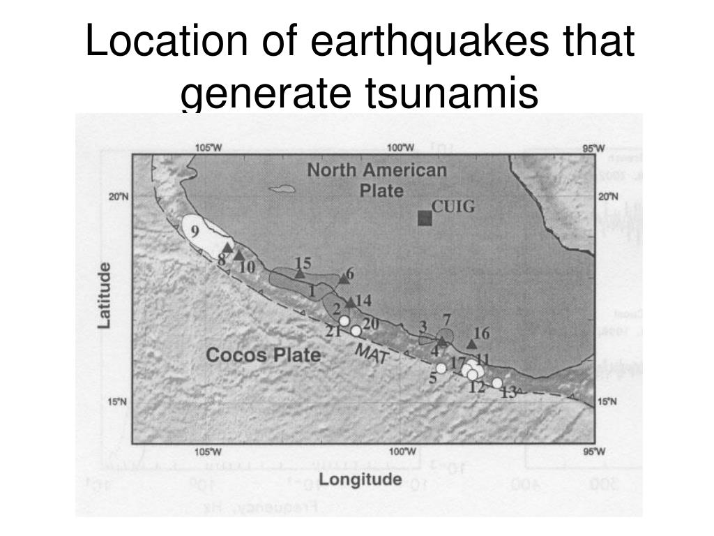 Location of earthquakes that generate tsunamis
