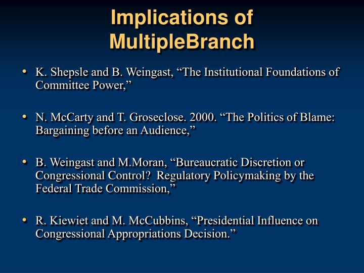 Implications of multiplebranch