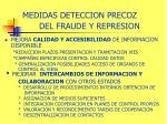 medidas deteccion precoz del fraude y represion