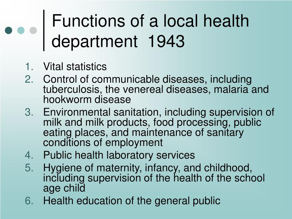 Functions of a local health department  1943