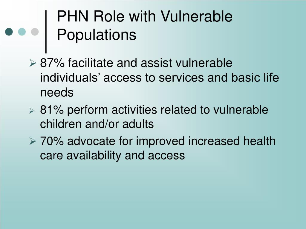 PHN Role with Vulnerable Populations