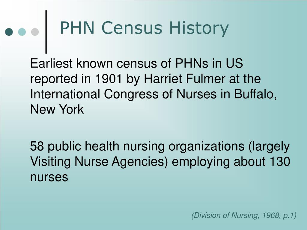 Earliest known census of PHNs in US   reported in 1901 by Harriet Fulmer at the International Congress of Nurses in Buffalo, New York
