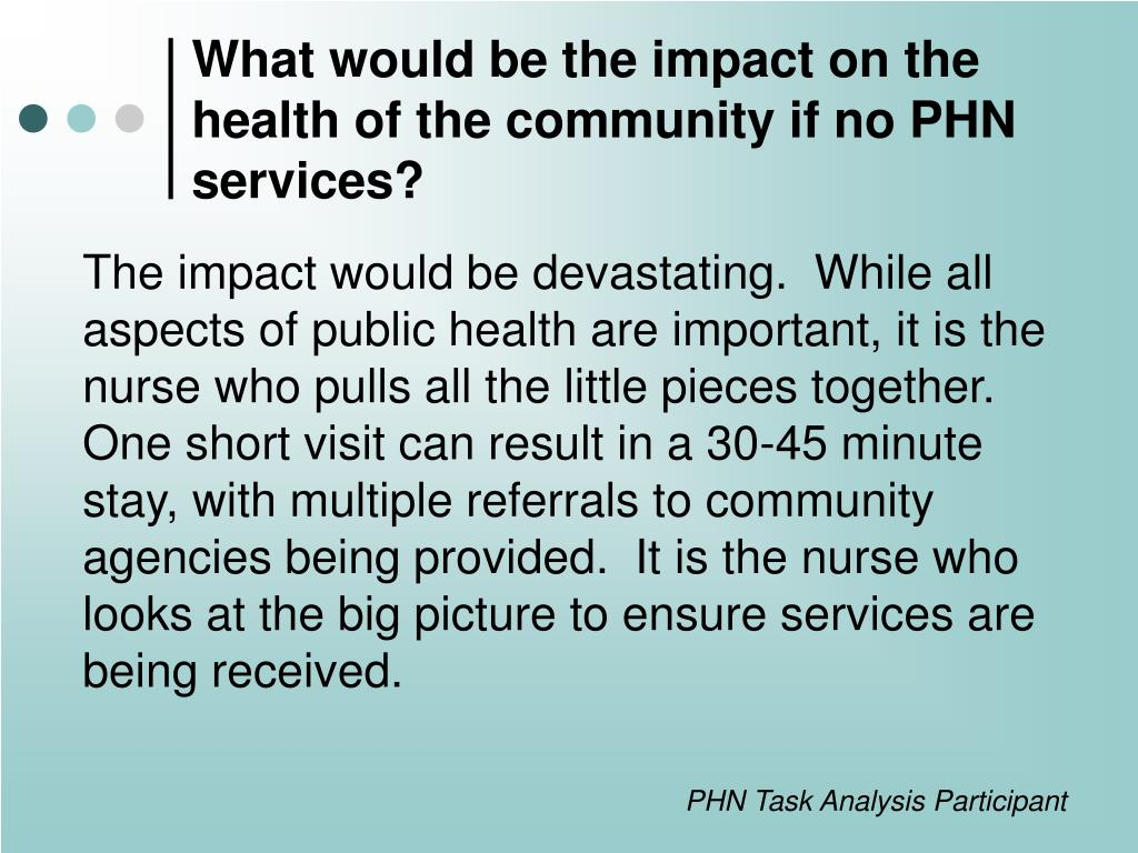 What would be the impact on the health of the community if no PHN services?