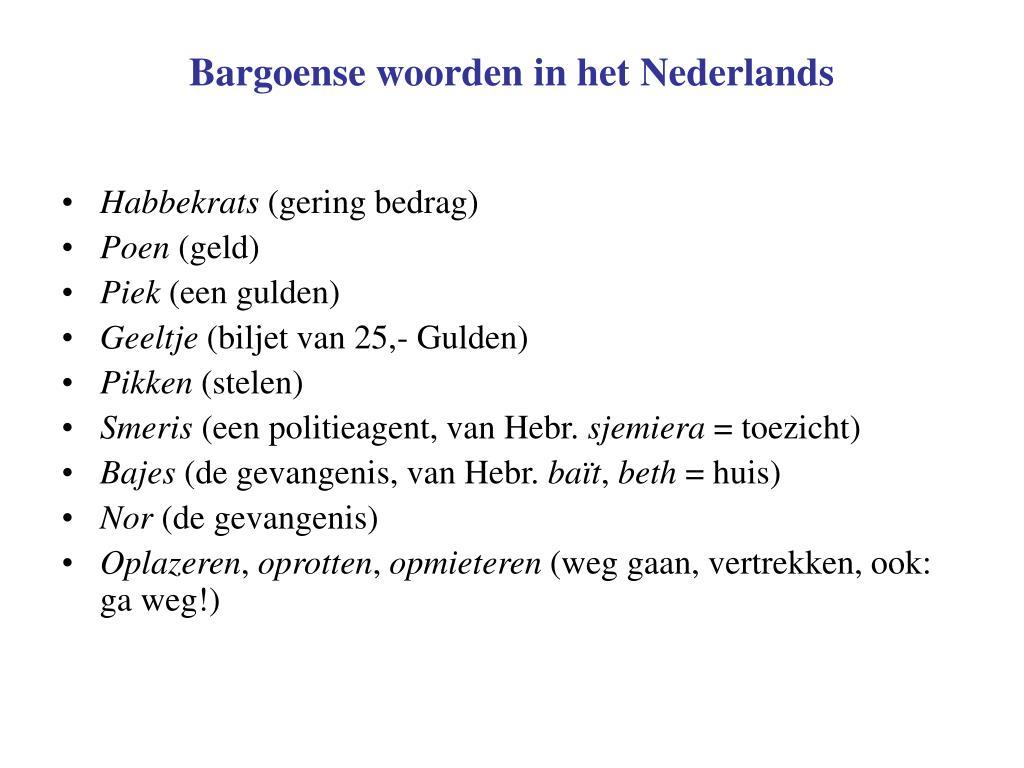 Bargoense woorden in het Nederlands