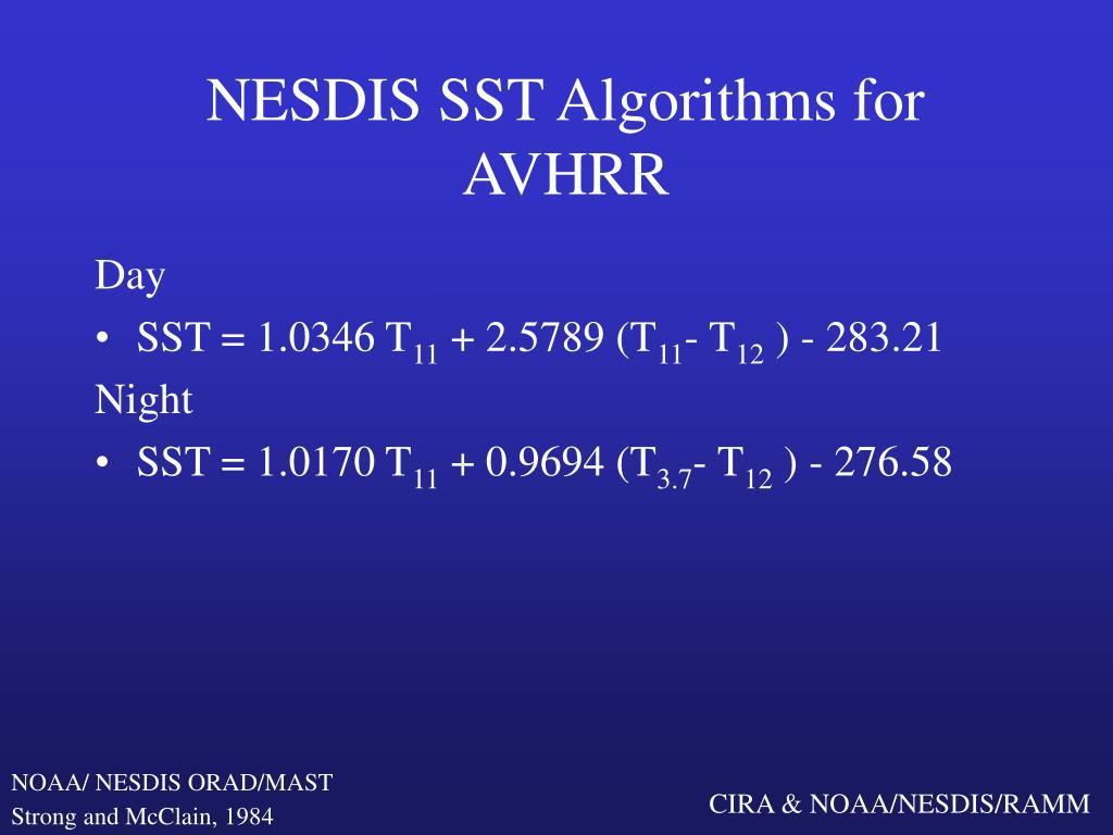 NESDIS SST Algorithms for AVHRR