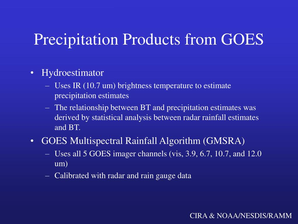 Precipitation Products from GOES