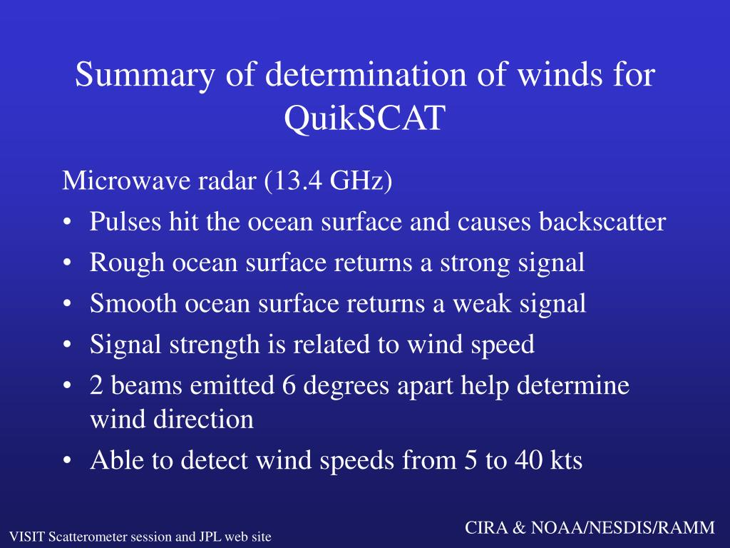 Summary of determination of winds for QuikSCAT