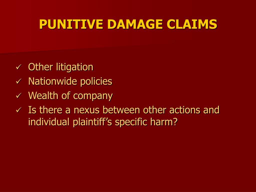 PUNITIVE DAMAGE CLAIMS