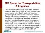mit center for transportation logistics