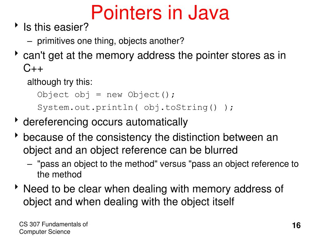 PPT - Java Basics – Pointers and Object Variables -Topic 3