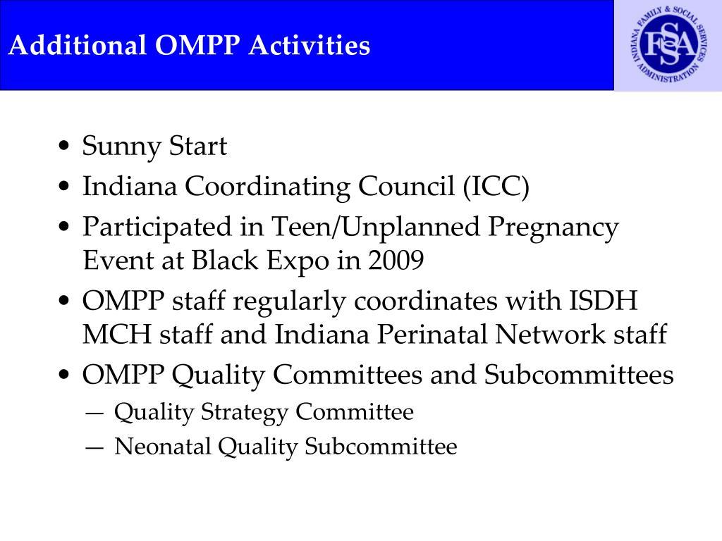 Additional OMPP Activities
