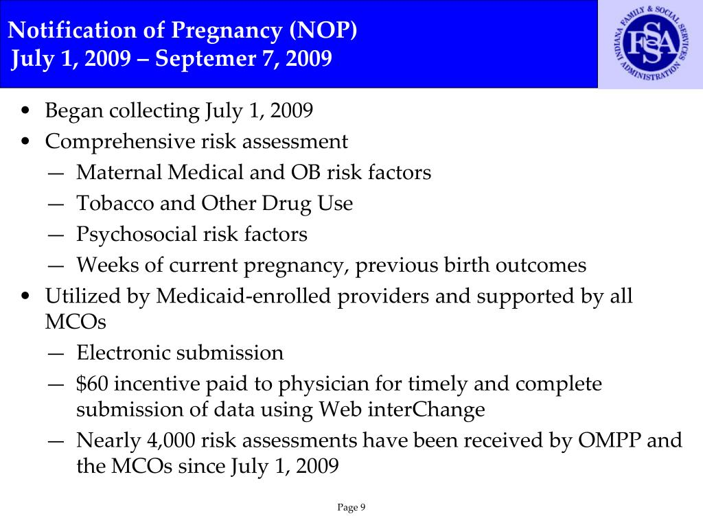 Notification of Pregnancy (NOP)