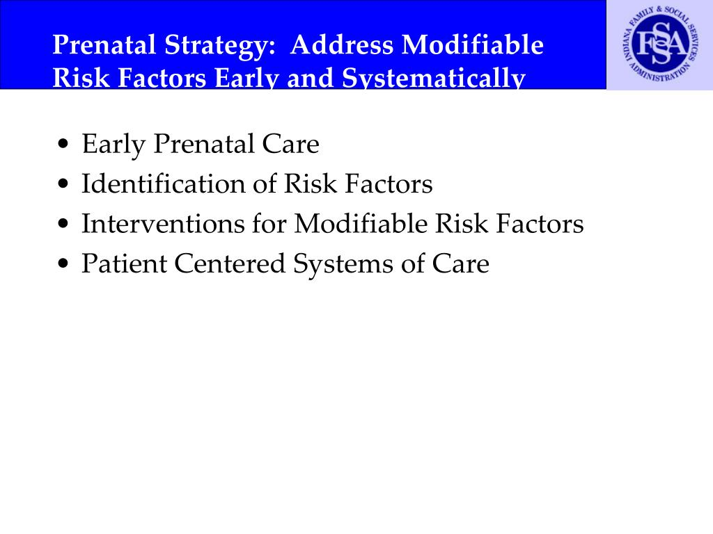 Prenatal Strategy:  Address Modifiable Risk Factors Early and Systematically