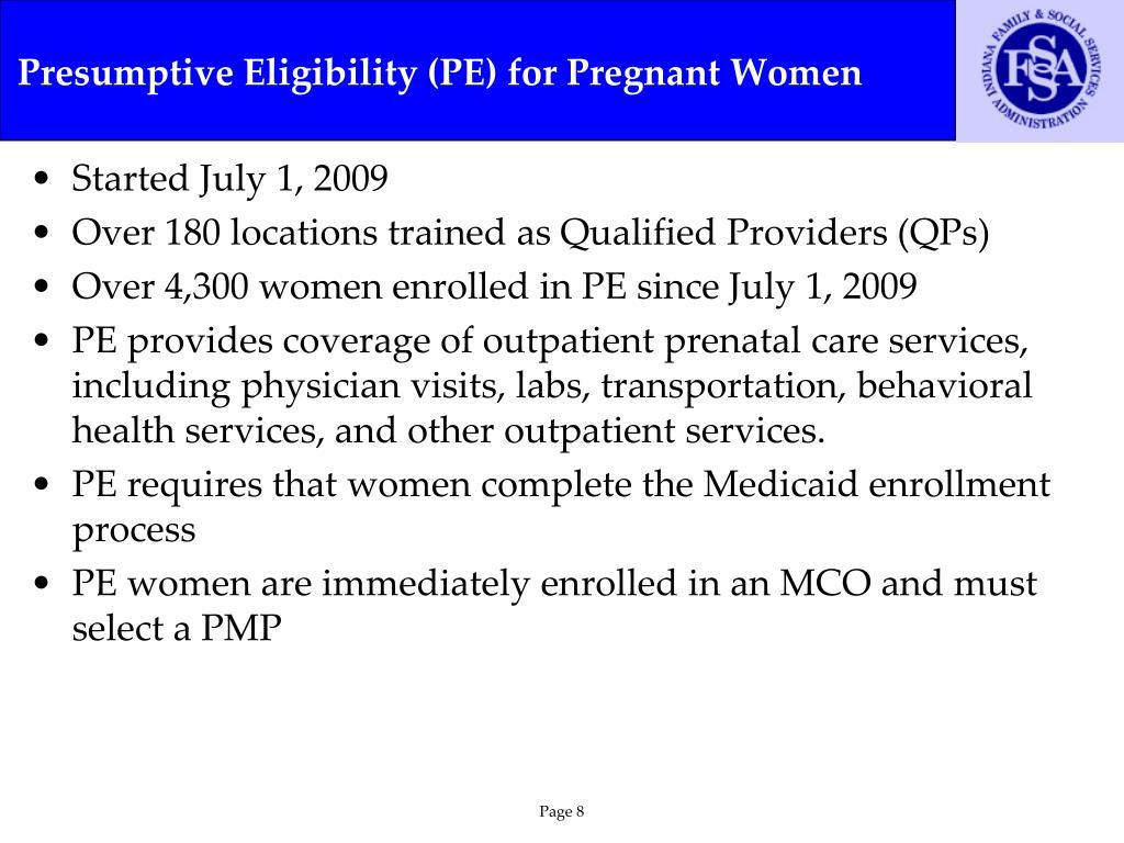 Presumptive Eligibility (PE) for Pregnant Women