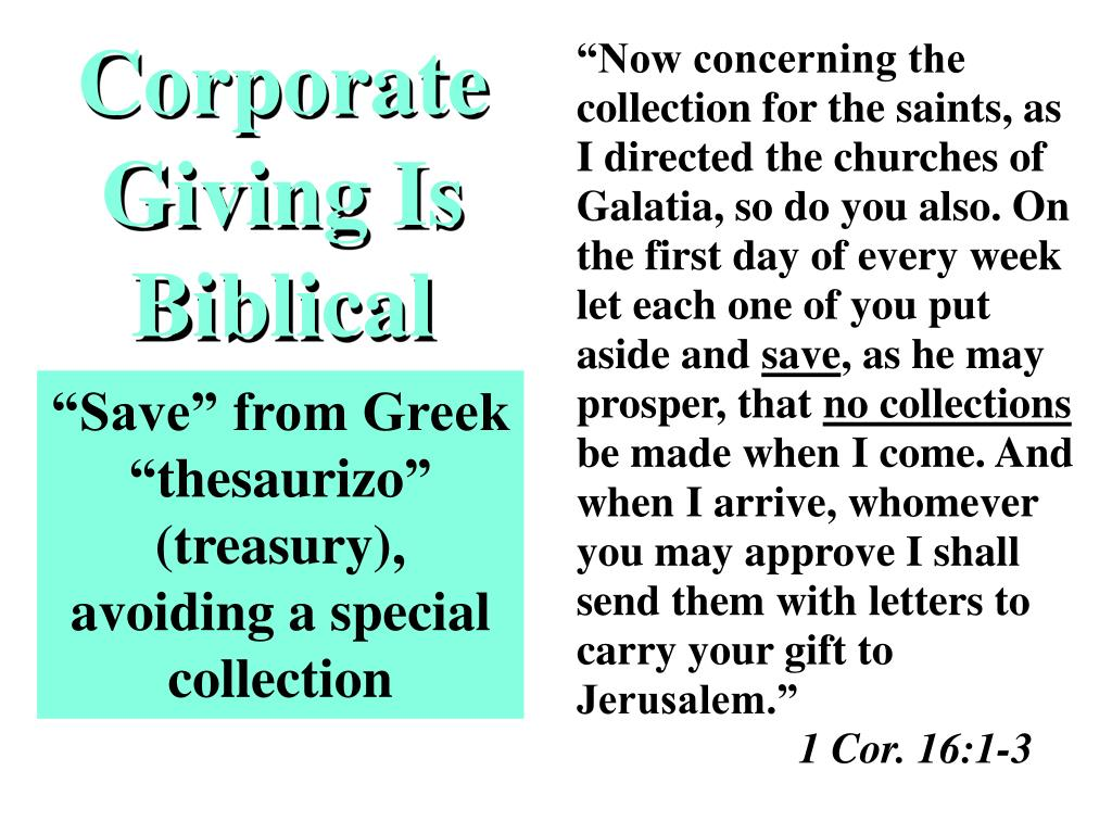Corporate Giving Is Biblical