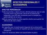 efectos personales y accesorios