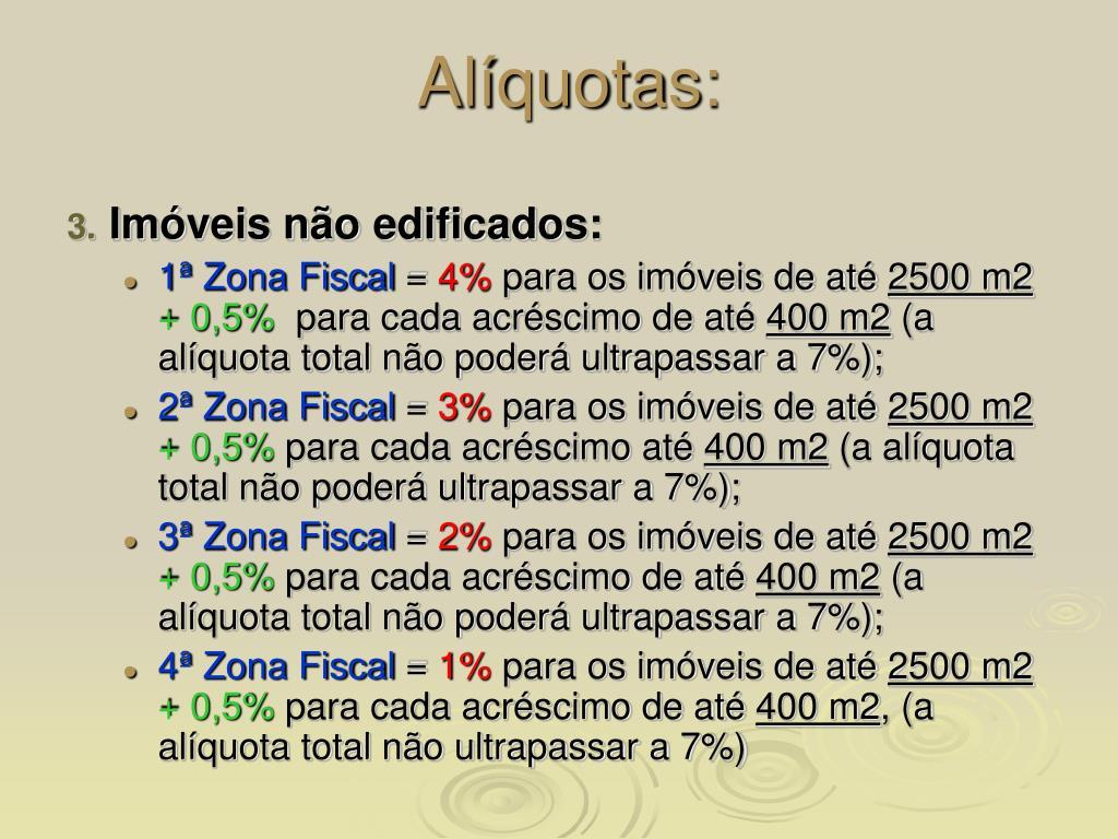 Alíquotas:
