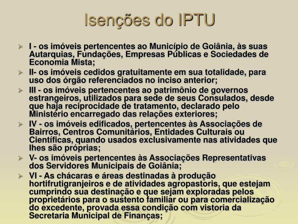 Isenções do IPTU
