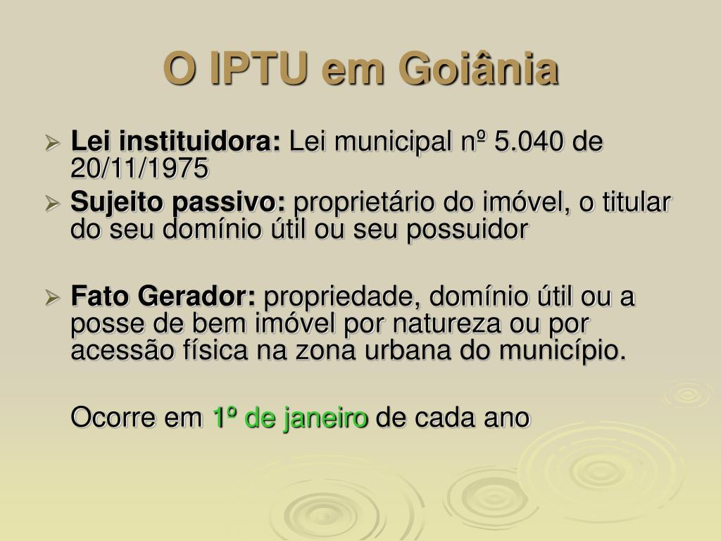 O IPTU em Goiânia