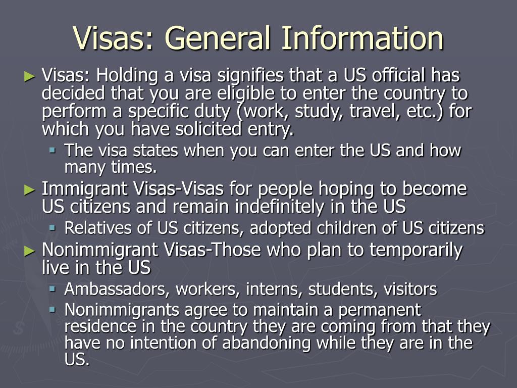 Visas: General Information