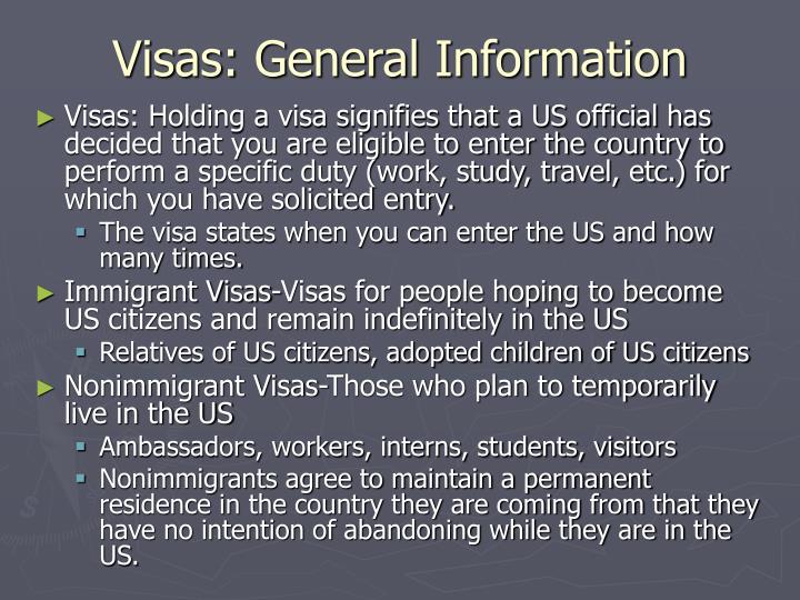 Visas general information