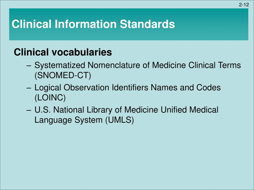 Clinical Information Standards