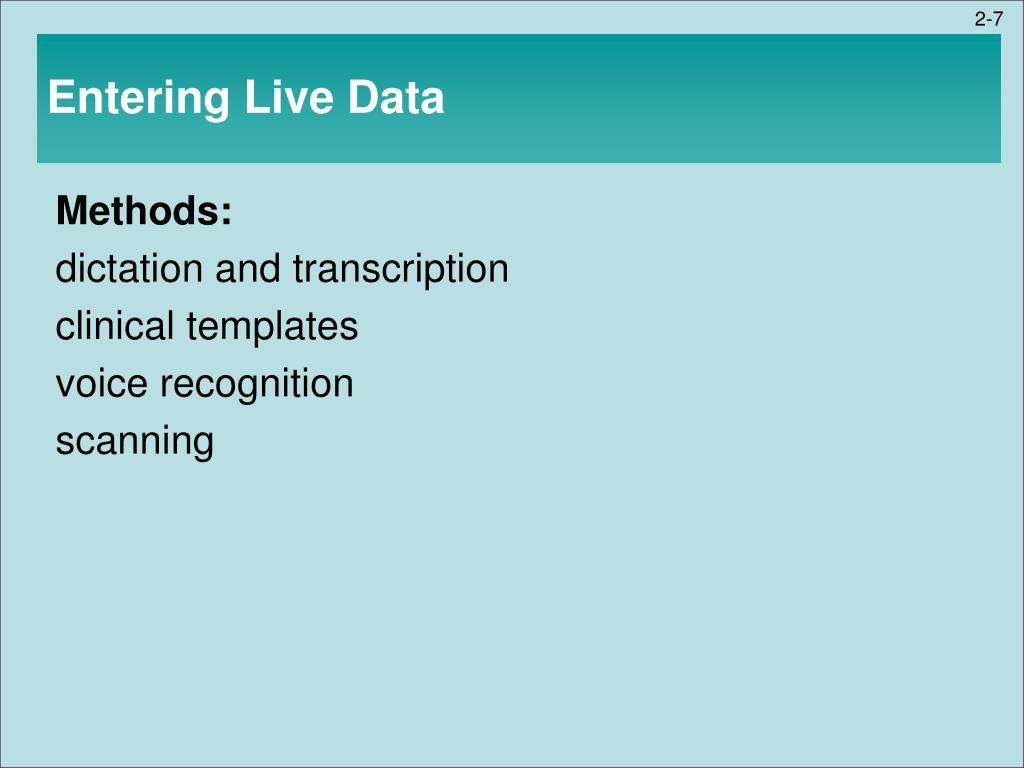 Entering Live Data
