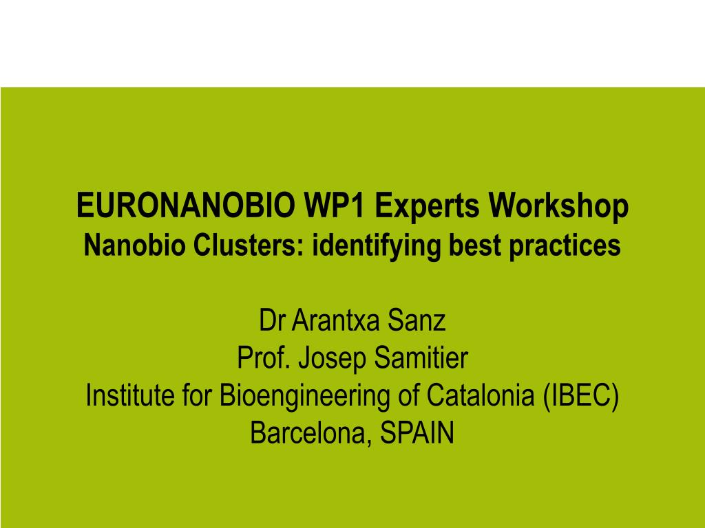 EURONANOBIO WP1 Experts Workshop