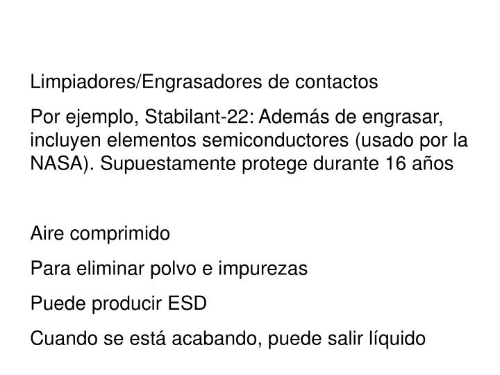 Limpiadores/Engrasadores de contactos