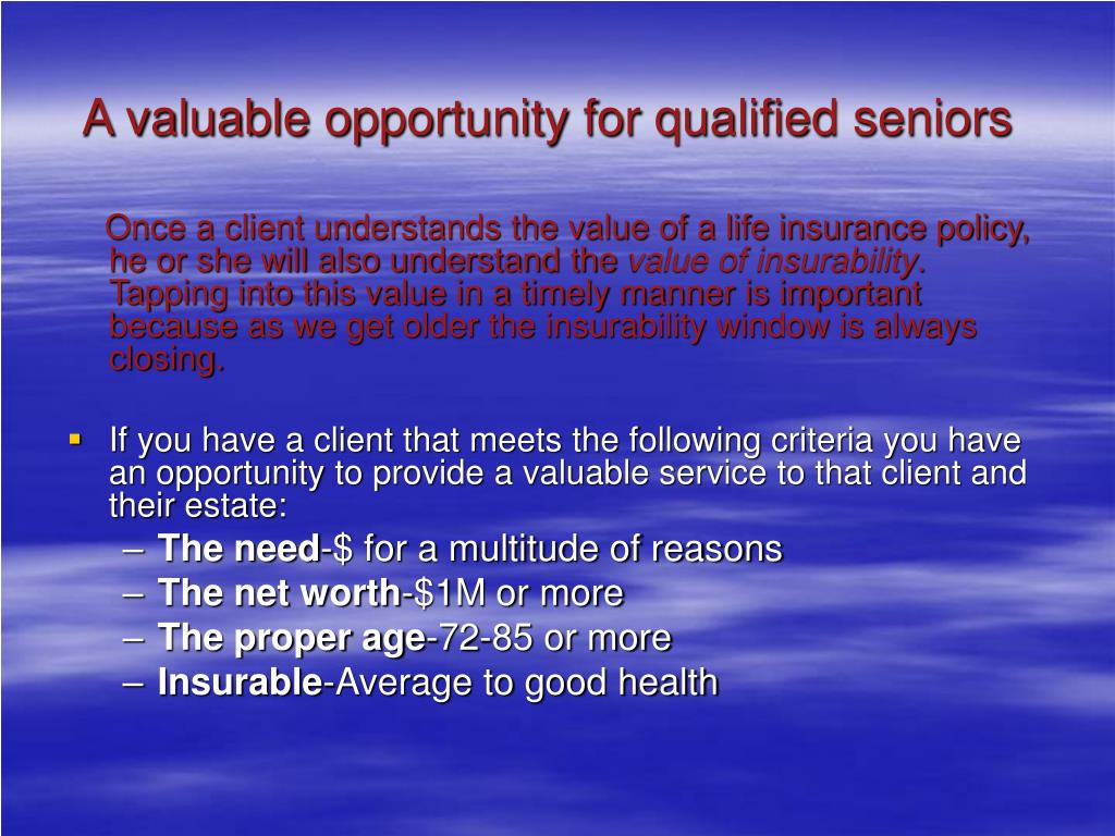 A valuable opportunity for qualified seniors