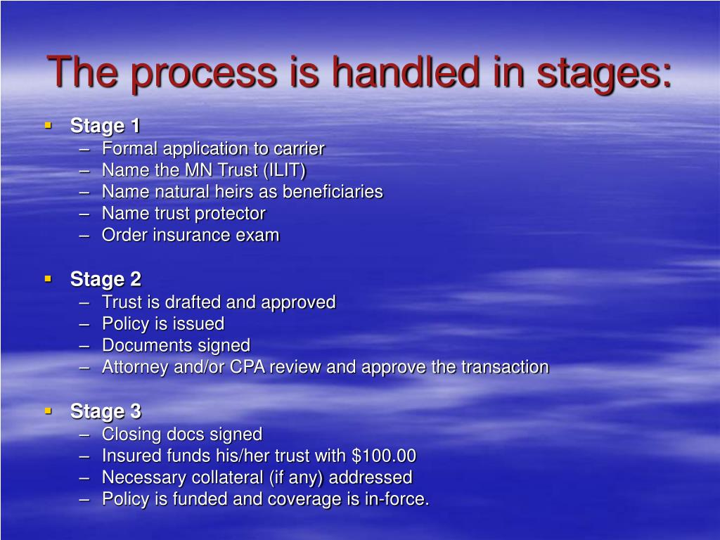 The process is handled in stages: