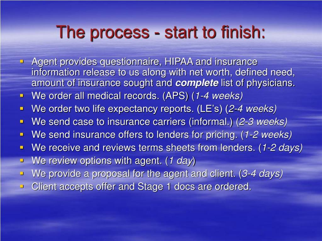 The process - start to finish: