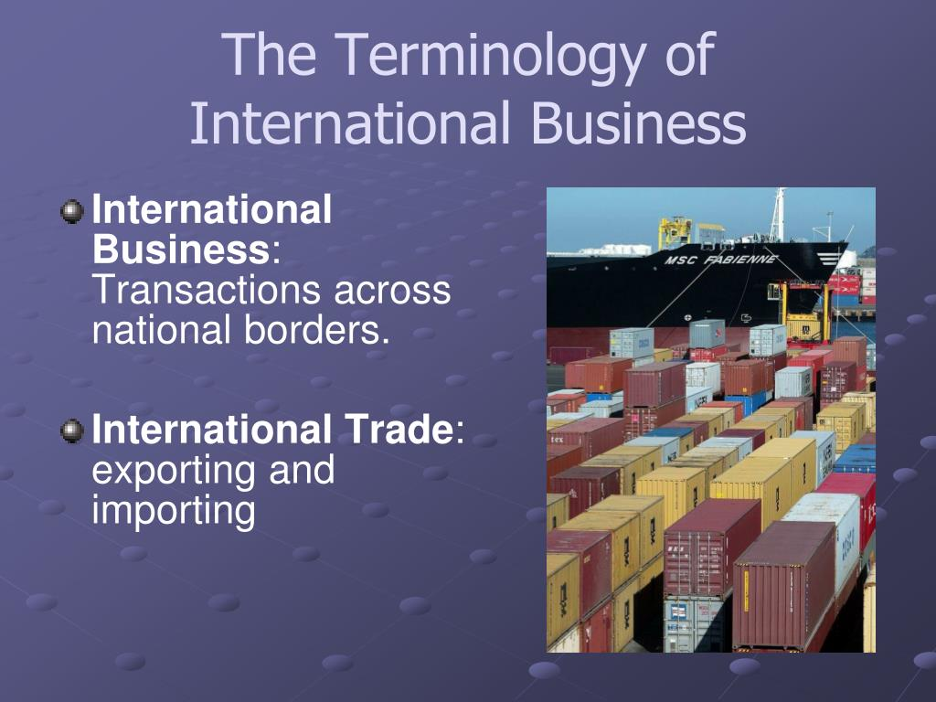 The Terminology of International Business