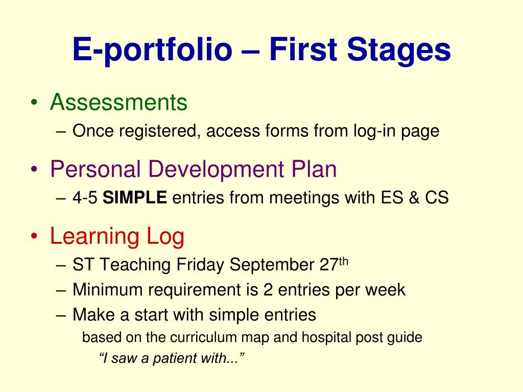 E-portfolio – First Stages