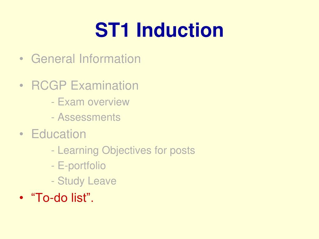 ST1 Induction