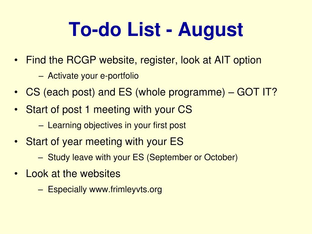 To-do List - August