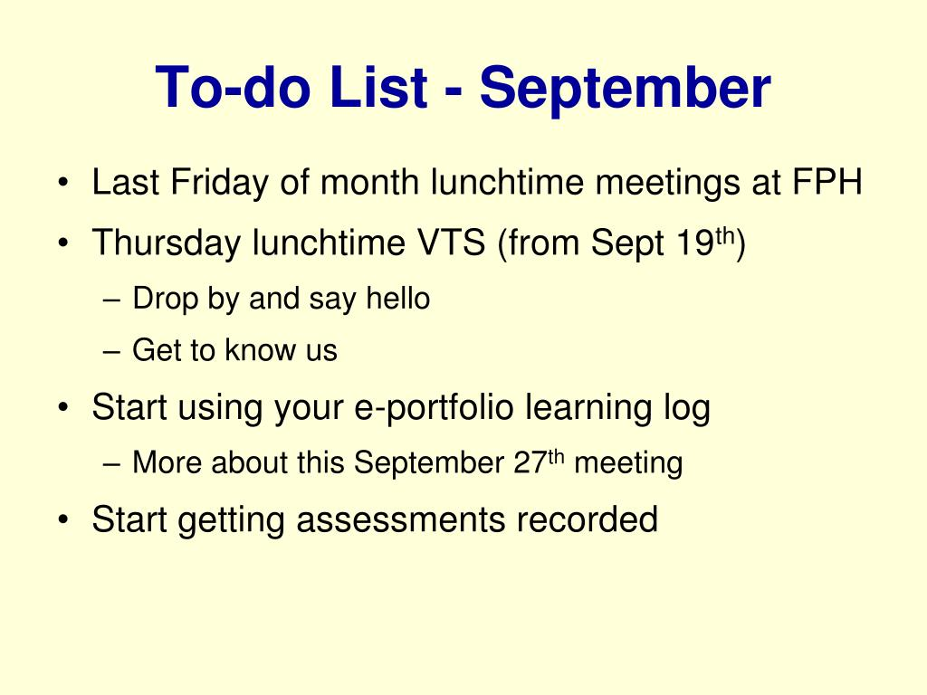 To-do List - September