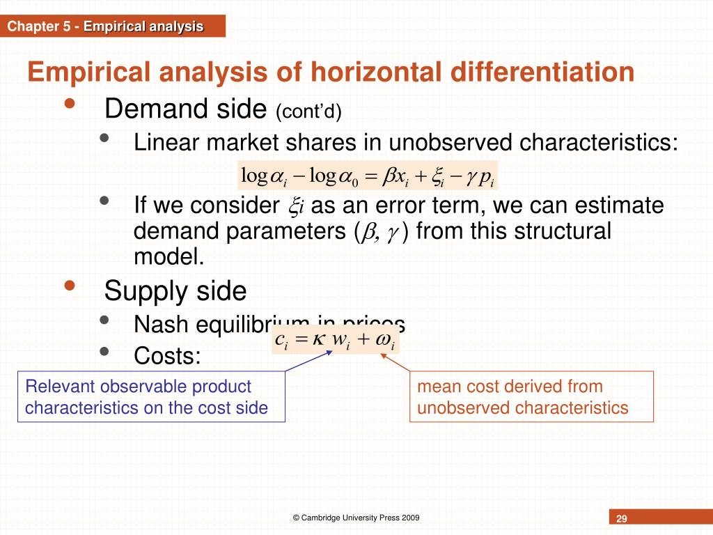 Relevant observable product characteristics on the cost side