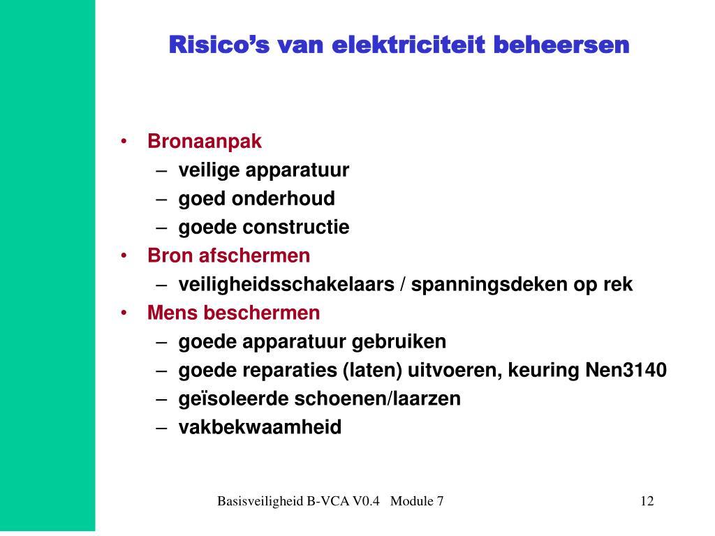 Risico's van elektriciteit beheersen