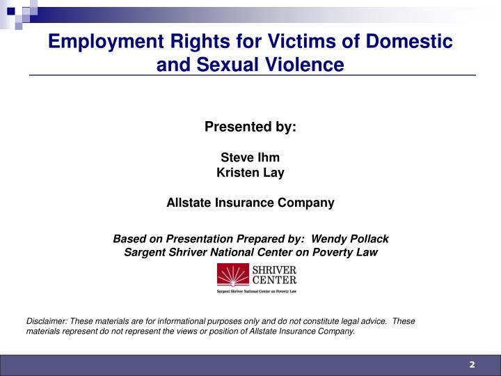Employment rights for victims of domestic and sexual violence