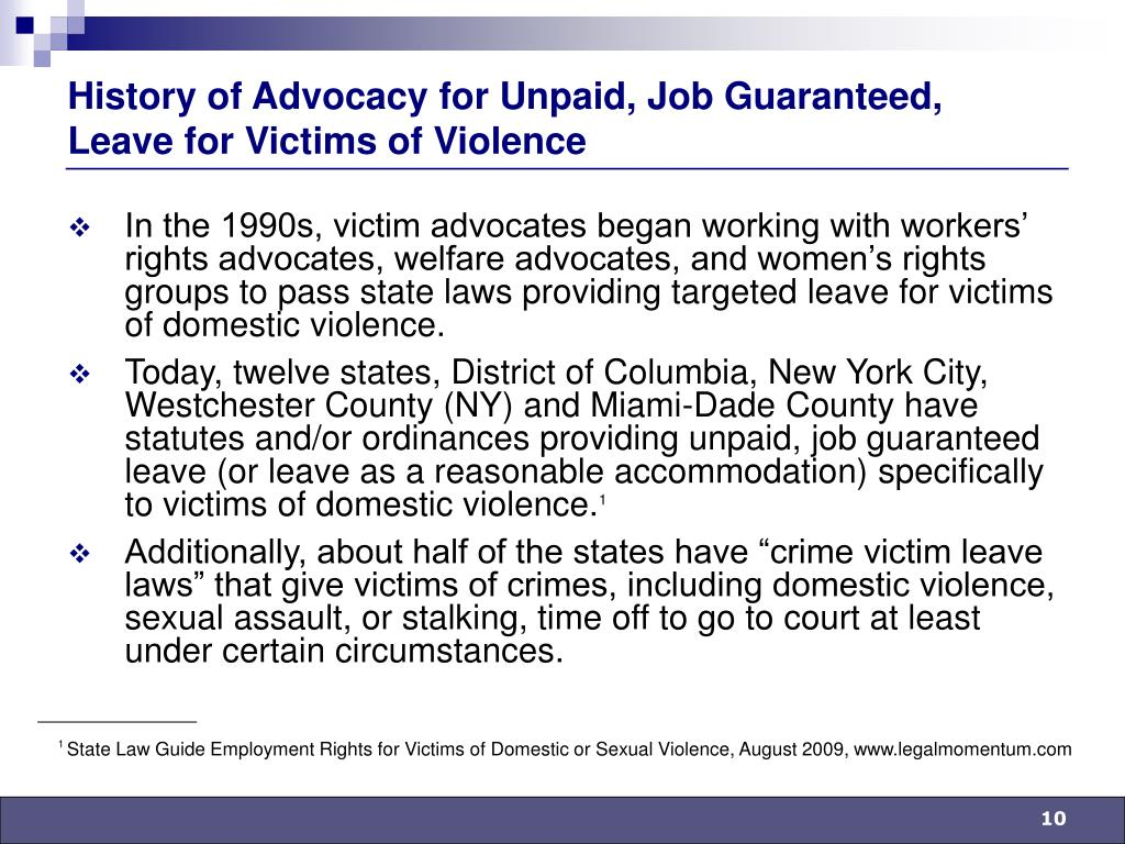 History of Advocacy for Unpaid, Job Guaranteed, Leave for Victims of Violence
