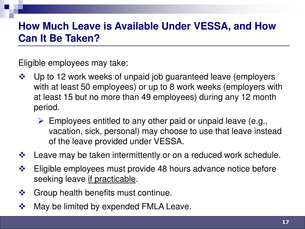 How Much Leave is Available Under VESSA, and How Can It Be Taken?
