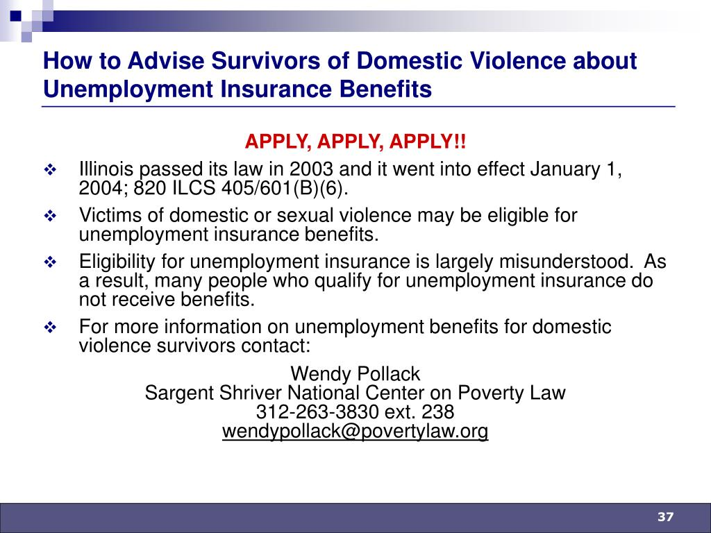 How to Advise Survivors of Domestic Violence about Unemployment Insurance Benefits