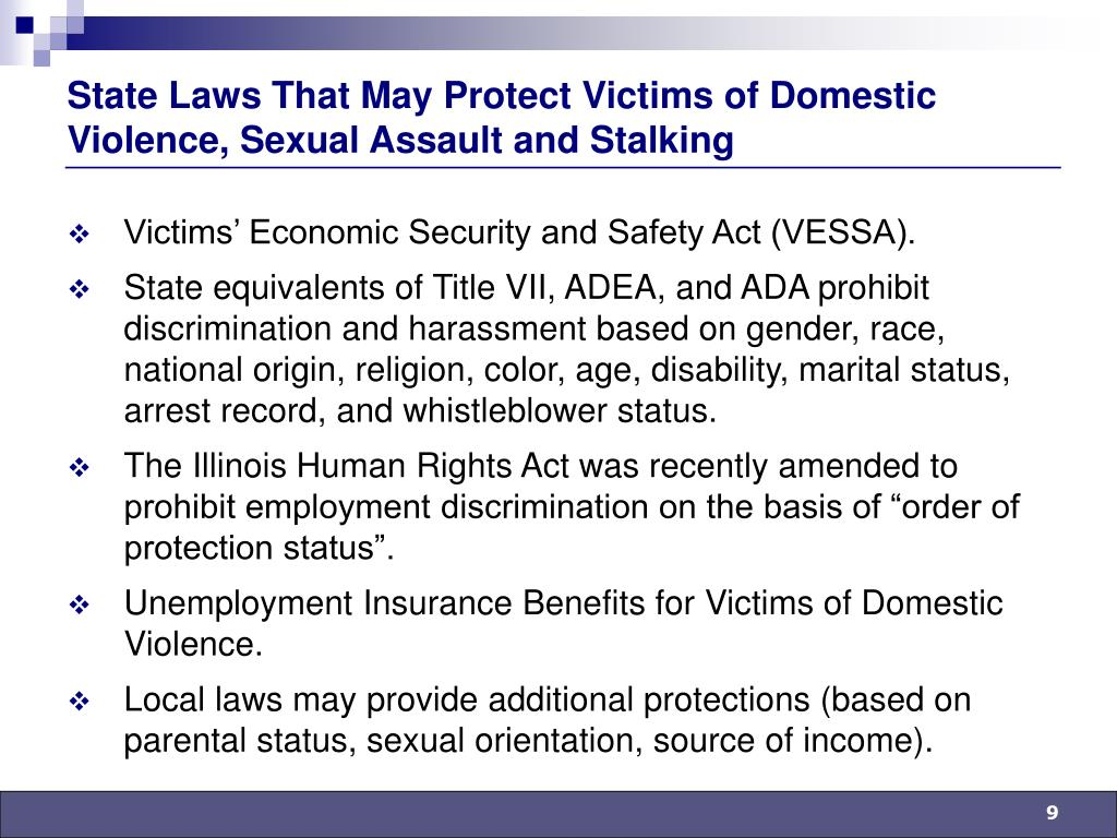 State Laws That May Protect Victims of Domestic Violence, Sexual Assault and Stalking