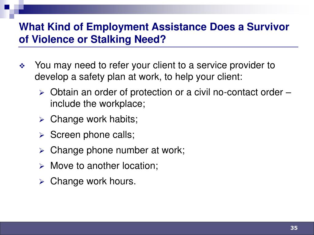 What Kind of Employment Assistance Does a Survivor of Violence or Stalking Need?