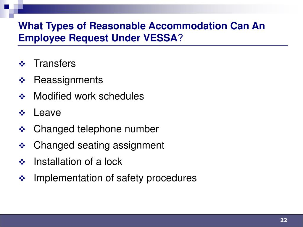 What Types of Reasonable Accommodation Can An Employee Request Under VESSA