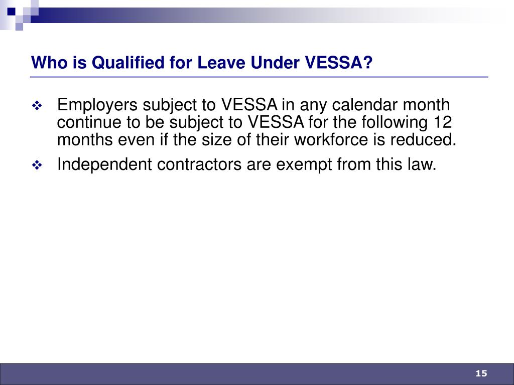 Who is Qualified for Leave Under VESSA?